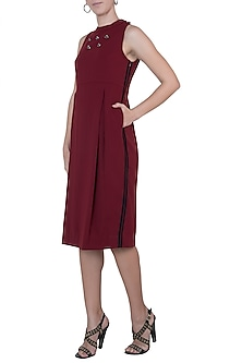 Oxy red embellished halter neck dress by House of Behram