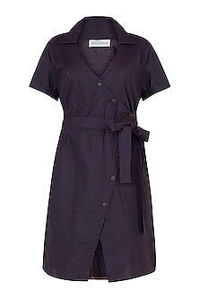 Deep plum overlap dress