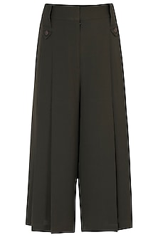 Olive green pleated trousers