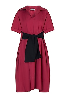 Red tie-up trench dress by House of Behram