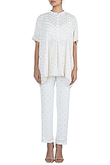 Off White Geometric Patterned Top by House of Milk