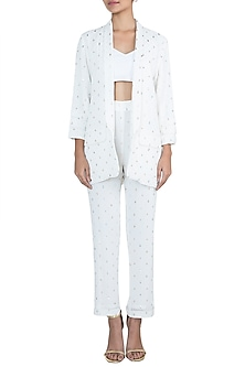 Off White Mango Patterned Jacket With Pants by House of Milk