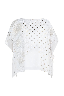 Off White Embroidered Kaftan Top by House of Milk