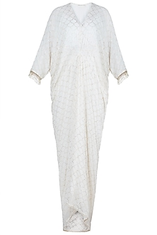 Off White Embroidered Maxi Dress With Inner by House of Milk