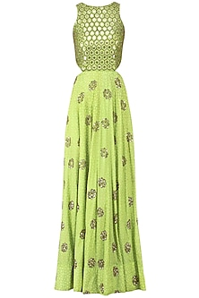 Green Embroidered Halter Cut-Out Anarkali Gown