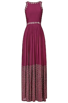 Marsala Jaal Embroidered Halter Anarkali Gown
