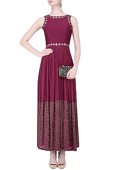 Marsala Jaal Embroidered Halter Anarkali Gown by Mishru
