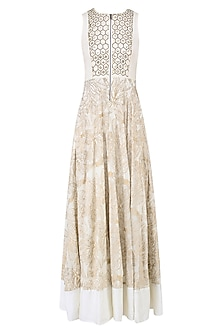 Beige Embroidered Abstract Print Anarkali Gown