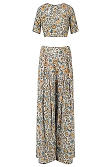 Sage Green Floral Embellished Crop Top and Palazzo Pants