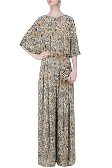 Sage Green Floral Embellished Cape with Palazzo Pants by Mishru