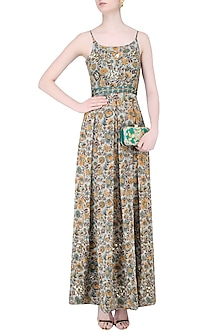 Sage Green Floral Embellished Pleated Gown by Mishru