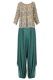 Sage Green Floral Full Sleeved Pleated Top with Dhoti Pants