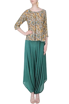 Sage Green Floral Full Sleeved Pleated Top with Dhoti Pants by Mishru