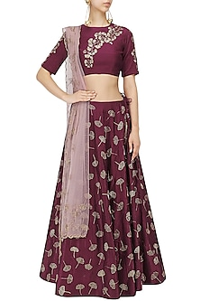 Marsala Gingko Leaf Embroidered Lehenga Set by Mishru