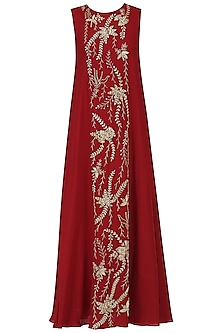 Red Embroidered Flared Gown