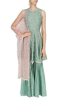 Jade Green Embroidered Kurta and Sharara Pants Set by Mishru
