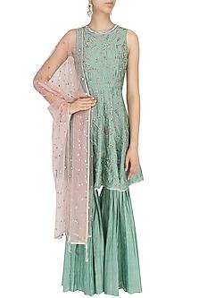 Jade Green Embroidered Kurta and Sharara Pants Set by Mishru