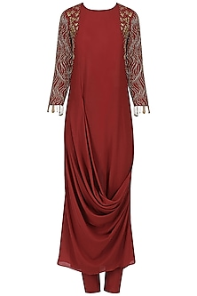 Red Cowl Drape Embroidered Kurta and Churidaar