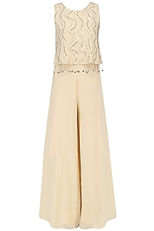 Ivory Embroidered Top and Palazzo Pants