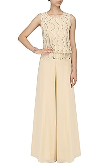 Ivory Embroidered Top and Palazzo Pants by Mishru