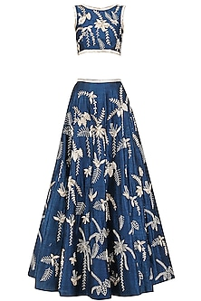Ink Blue Embroidered Lehenga Set