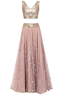 Muted Pink Embroidered Lehenga Set