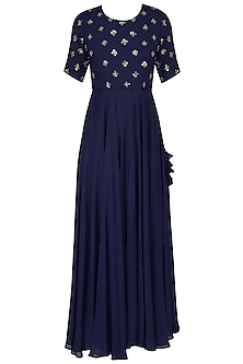 Navy Blue Sequins Embroidered Gown