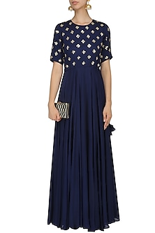 Navy Blue Sequins Embroidered Gown by Mishru