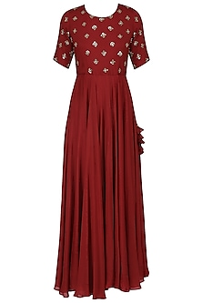 Red Sequins Embroidered Gown