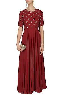Red Sequins Embroidered Gown by Mishru