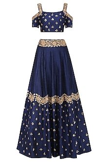 Navy Blue Floral Embroidered Lehenga and Blouse Set by Mishru