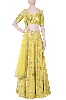 Yellow Embroidered Cold Shoulder Crop Top and Lehenga Set by Mishru