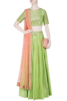 Green Sequins Embrooidered Crop Top and Lehenga Set by Mishru