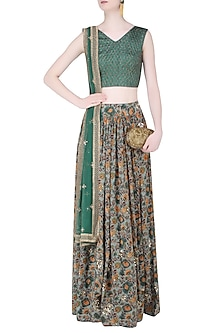 Dusty Green Jaal Embroidered Crop Top and Floral Lehenga Set by Mishru