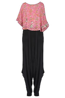 Pink Floral Cape with Black Dhoti Pants
