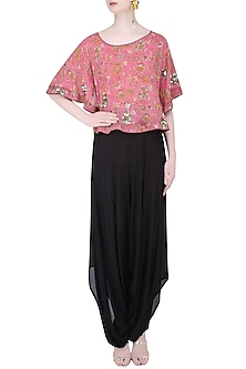 Pink Floral Cape with Black Dhoti Pants by Mishru