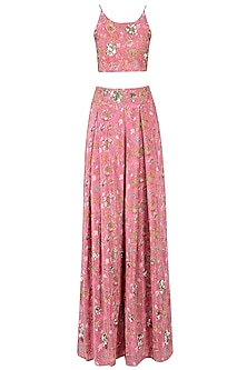 Pink Floral Strappy Crop Top with Palazzo Pants