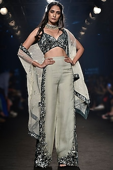 Deep Green Embroidered Bustier with Pants and Cape by Mishru