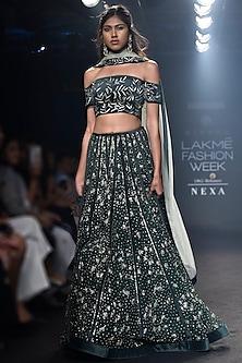 Deep Green Embroidered Lehenga Set by Mishru