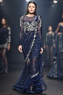 Navy Blue Embroidered Corset with Sharara Pants Set by Mishru