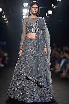 Grey Embroidered Lehenga Set by Mishru