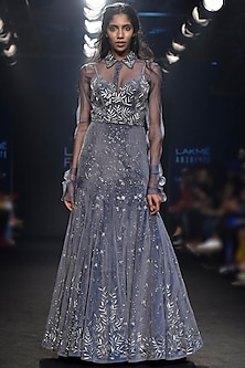 Grey Embroidered Gown and Sheer Shirt by Mishru