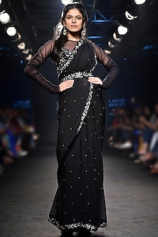 Black Embroidered Saree with Ruched Top and Belt