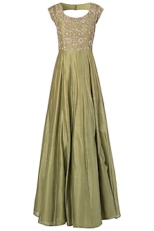 Olive Green Embroidred Anarkali Set by Himani And Anjali Shah