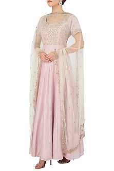 Lilac Embroidered Anarkali Set by Himani And Anjali Shah