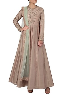 Muave Embroidered Anarkali Set by Himani And Anjali Shah