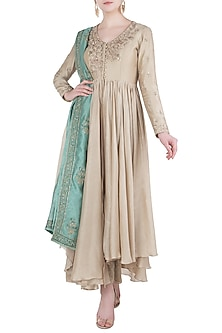 Beige Embroidered Anarkali with Dupatta by Himani And Anjali Shah