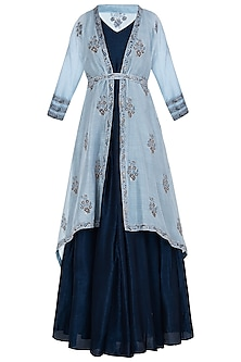 Navy Blue Embroidered Anarkali Gown with Ice Blue Jacket and Belt