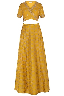 Mustard Embroidered Crop Top with Skirt and Dupatta