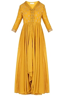 Mustard Embroidered Anarkali with Pants